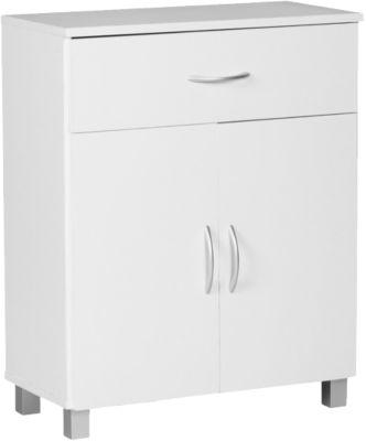 WOHNLING Sideboard 60x75x30cm Kommode mit Schublade und Türen Moderne Anrichte Allzweckschrank Schmal weiß