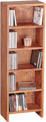 WOHNLING CD Regal MUMBAI Massivholz Standregal 90 cm hoch CD Aufbewahrung 5 Fächer Bücherregal Landhausstil braun