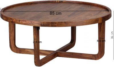 Sheesham Couchtisch ´´Puro´´ Massivholz Ø85 cm braun