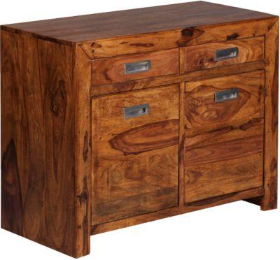 Sheesham Sideboard ´´Rino´´ Massivholz, mit 2 Schubladen und 2 Türen B90 cm braun