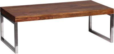 Sheesham Couchtisch ´´Sima´´ Massivholz/Chrom 120x60 cm braun