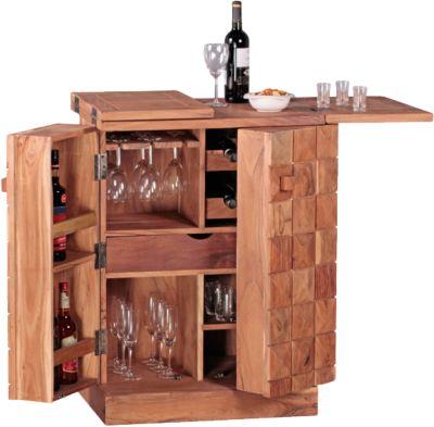 Akazien Hausbar ´´Sophie´´ Massivholz, ausklappbar mit Glashalter beige