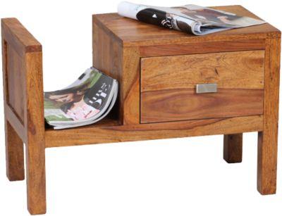 Sheesham Nachttisch Massivholz, mit Schublade und Ablage braun