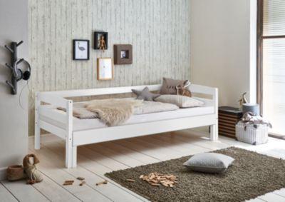 Relita Einzelbett EMILIA, Buche massiv, weiß lackiert, 90/180 x 200 cm Gr. 90 x 200