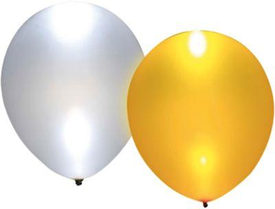 LED Luftballons gold/silber, 5 Stück weiß/gold