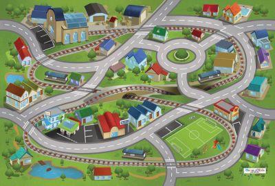 ACHOKA® Spielteppich Bahnhof, 80x120 cm grün Gr. 80 x 120 | Kinderzimmer > Textilien für Kinder > Kinderteppiche | ACHOKA®