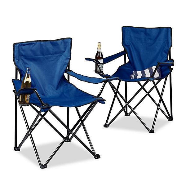 2er-Set Campingstuhl mit Getränkehalter, klappbar, blau, | yomonda