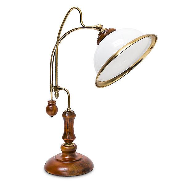 schreibtisch lampe jugendstil mit glasschirm braun yomonda. Black Bedroom Furniture Sets. Home Design Ideas