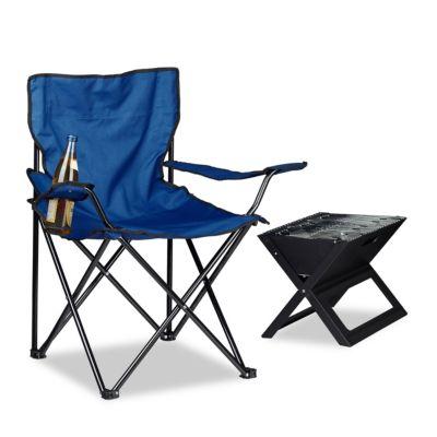 Campingstuhl mit Getränkehalter, klappbar blau