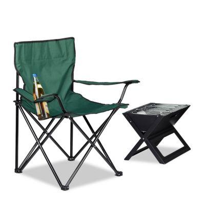 Campingstuhl mit Getränkehalter, klappbar grün
