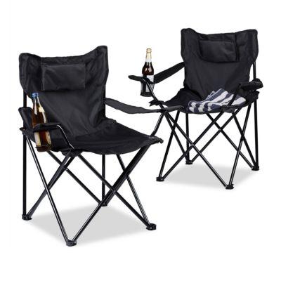 2er-Set Campingstuhl mit Getränkehalter und Kopfpolster, klappbar schwarz | Baumarkt > Camping und Zubehör > Campingmöbel | Schwarz - Dunkelgrün | Polyester | yomonda