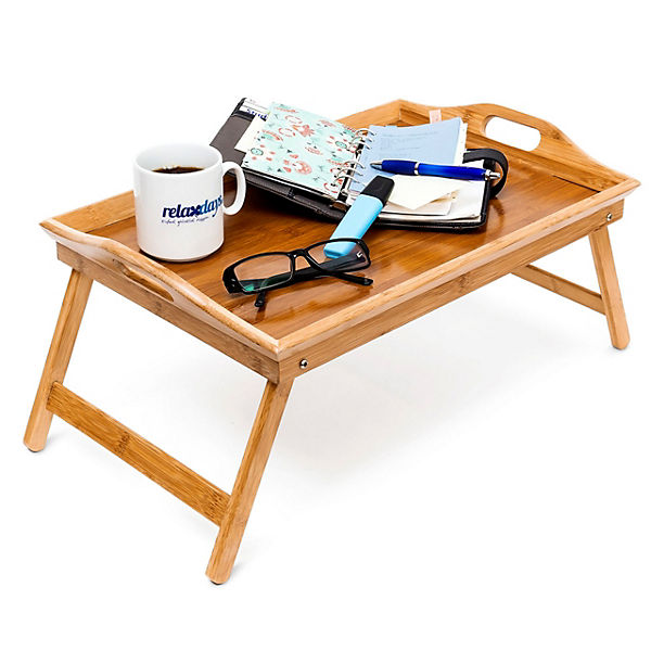 bambus bett tablett 52x33 cm klappbar beige yomonda. Black Bedroom Furniture Sets. Home Design Ideas