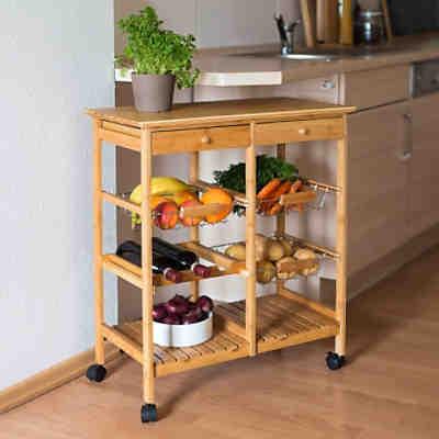 bambus k chenwagen lena mit mamorplatte 3 k rbe 2 ablage beige yomonda. Black Bedroom Furniture Sets. Home Design Ideas