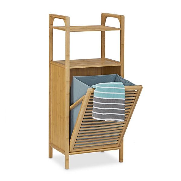bambus bad regal mit w schesammler braun yomonda. Black Bedroom Furniture Sets. Home Design Ideas