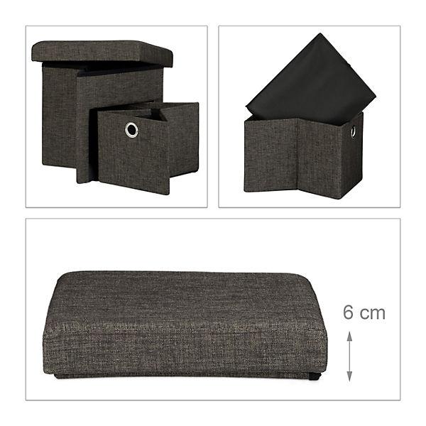 faltbarer sitz hocker mit schublade leinen bezug 38x38 cm braun yomonda. Black Bedroom Furniture Sets. Home Design Ideas