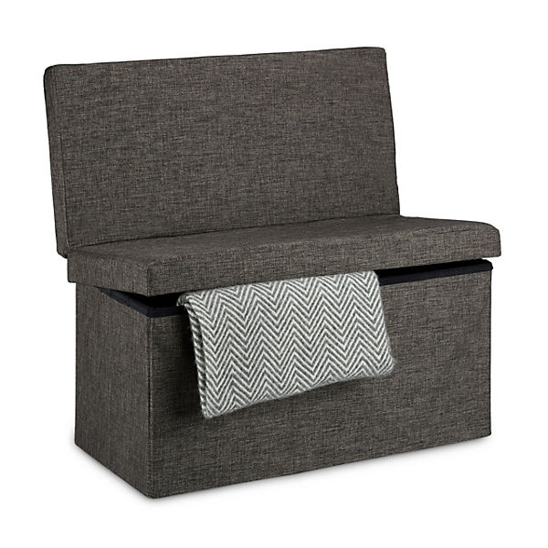 faltbarer sitz hocker bank mit klappbarer r ckenlehne leinen bezug 38x38 cm braun yomonda. Black Bedroom Furniture Sets. Home Design Ideas