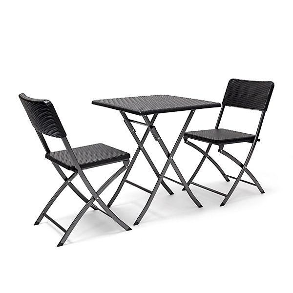 3 tlg polyrattan gartenm bel set bastian klappbar 2 gartenst hle tisch eckig schwarz. Black Bedroom Furniture Sets. Home Design Ideas