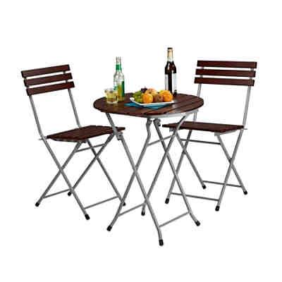 3 tlg gartenm bel set bistro klappbar 2 gartenst hle tisch rund braun yomonda. Black Bedroom Furniture Sets. Home Design Ideas