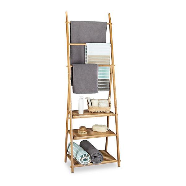 Bambus Bad-Regal mit Handtuchhalter, klappbar, beige, | yomonda