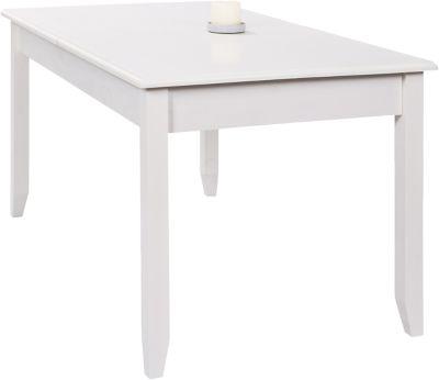 Massivholz Esstisch ´´Sylt´´ ausziehbar 160 bis 200 x 90 cm weiß