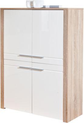 Hochglanz/Sonoma Highboard ´´Monda´´ 107x40x142 cm weiß