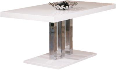 Hochglanz/Chrom Esstisch ´´Justice´´ 160x90 cm silber/weiß