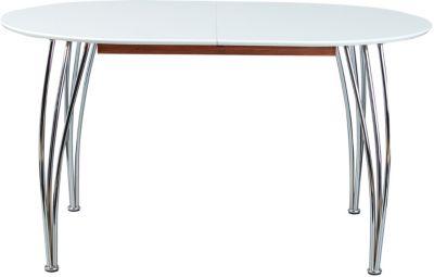 Hochglanz/Chrom Esstisch ´´Merkur´´ ausziehbar 140 bis 180 x 90 cm, silber/weiß