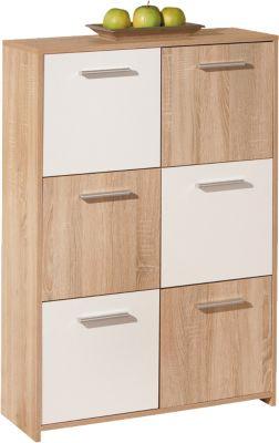 Sonoma/Weiß Sideboard ´´Chesa´´ 77x30x115 cm braun/weiß