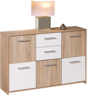 Sonoma/Weiß Kommode ´´Chesa´´ 115x30x77 cm braun/weiß