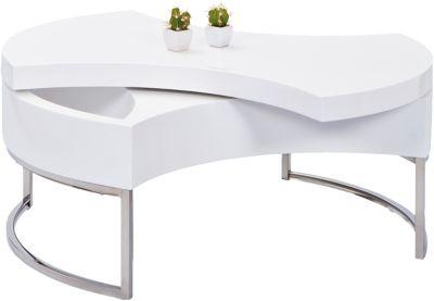 Hochglanz Couchtisch ´´Twist´´ Ø 100 cm, drehbar weiß