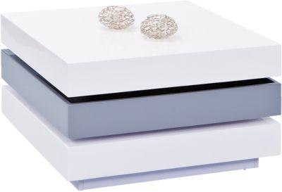 Hochglanz Couchtisch ´´Madra´´ 70x70 cm, drehbar weiß