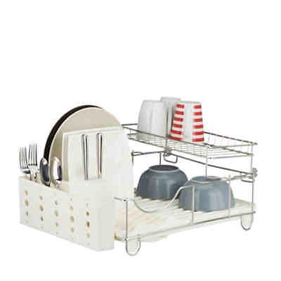 geschirr abtropfgestell mit besteckhalter silber yomonda. Black Bedroom Furniture Sets. Home Design Ideas