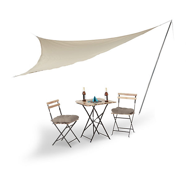sonnensegel gro mit stangen in beige beige yomonda. Black Bedroom Furniture Sets. Home Design Ideas