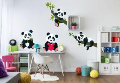 Wandsticker Panda, XXL Set, 145 x 41 cm schwarz   Dekoration > Wandtattoos > Wandtattoos   yomonda