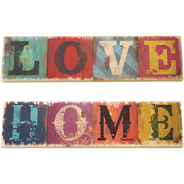 "2-tlg. Holzschilder Set ""Home & Love"""