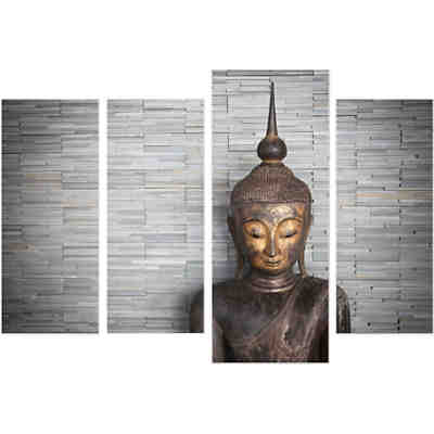 "4-tlg. Wandbild-Set ""Buddha on wall"""