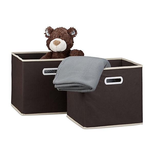 2er Set Faltbare Aufbewahrungsbox Mit Griff 30x30 Cm Braun Yomonda