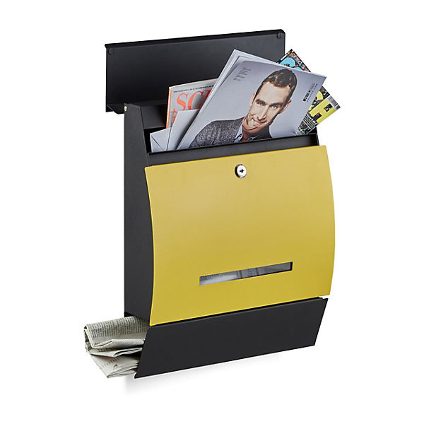 Design Briefkasten Line Mit Fach Fur Zeitungen Schwarz Yomonda