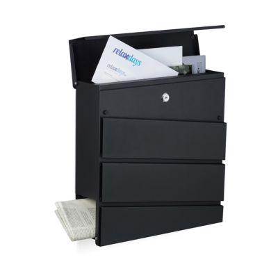 Briefkasten ´´Lona´´ mit Fach Zeitungen schwarz...
