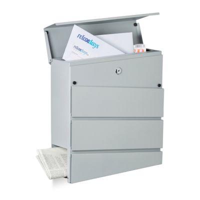 Briefkasten ´´Lona´´ mit Fach Zeitungen silber ...