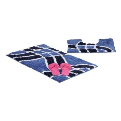 2-tlg. Badgarnitur ´´Welle´´ blau   Bad > Badgarnituren > Badgarnituren-Sets   Grau   yomonda