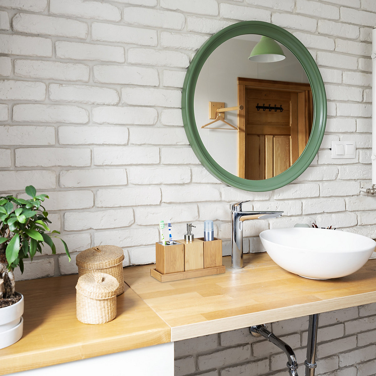 4 tlg bambus bad accessoires set beige yomonda. Black Bedroom Furniture Sets. Home Design Ideas