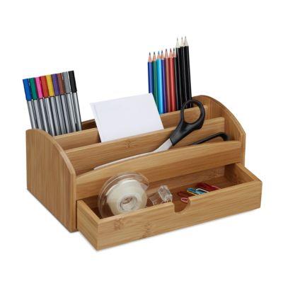 relaxdays Schreibtischorganizer Bambus Schublade beige | Büro > Bürotische > Bürotische-Zubehör | relaxdays