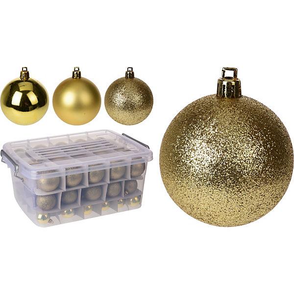Aufbewahrungsbox Weihnachtskugeln.70 Tlg Weihnachtskugel Set ø4 6 Cm Inkl Aufbewahrungsbox Gold