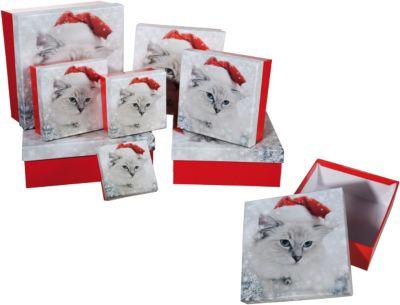 8-tlg. Geschenkkarton Set ´´Santa Kitty´´ rot