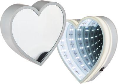 Wandspiegel ´´Enlighted Heart´´, warmweiß, 18 LEDs, Ø20 cm, batteriebetrieben