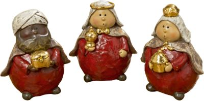 3-tlg. Dekofiguren Set ´´Heilige Drei Könige´´ rot