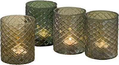 4-tlg. Set Teelichthalter ´´Lucis´´ H10 cm grün