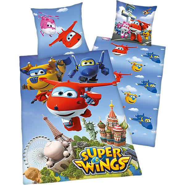 Wende Kinderbettwäsche Super Wings Renforcé 135 X 200 Cm Blau