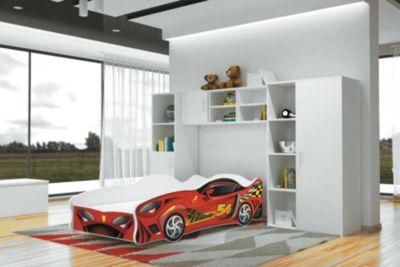 Relita Autobett TURBO Thunder inkl. Lattenrost und Matratze, rot, 80 x 160 cm